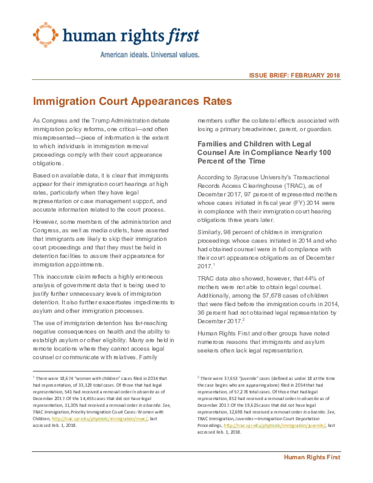 Immigration Court Appearances Rates