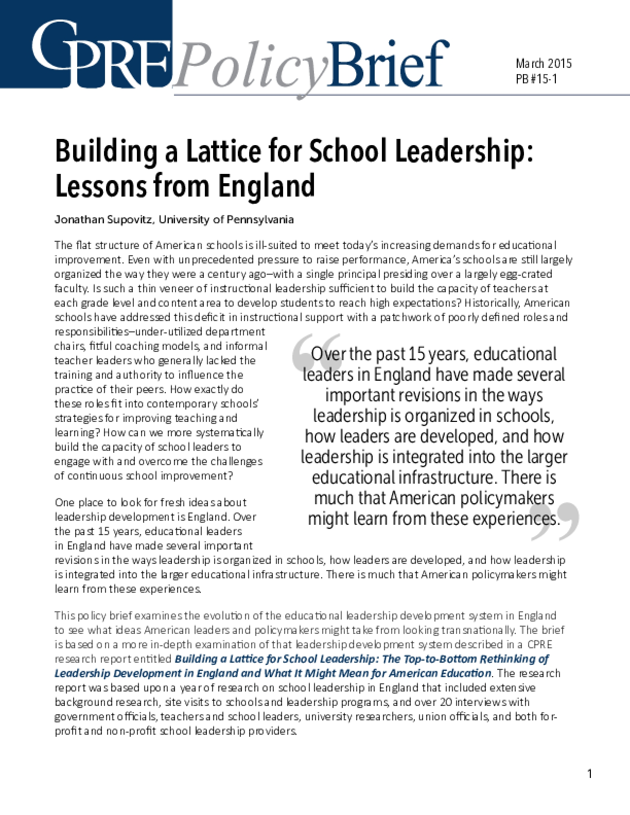 Building a Lattice for School Leadership: Lessons From England