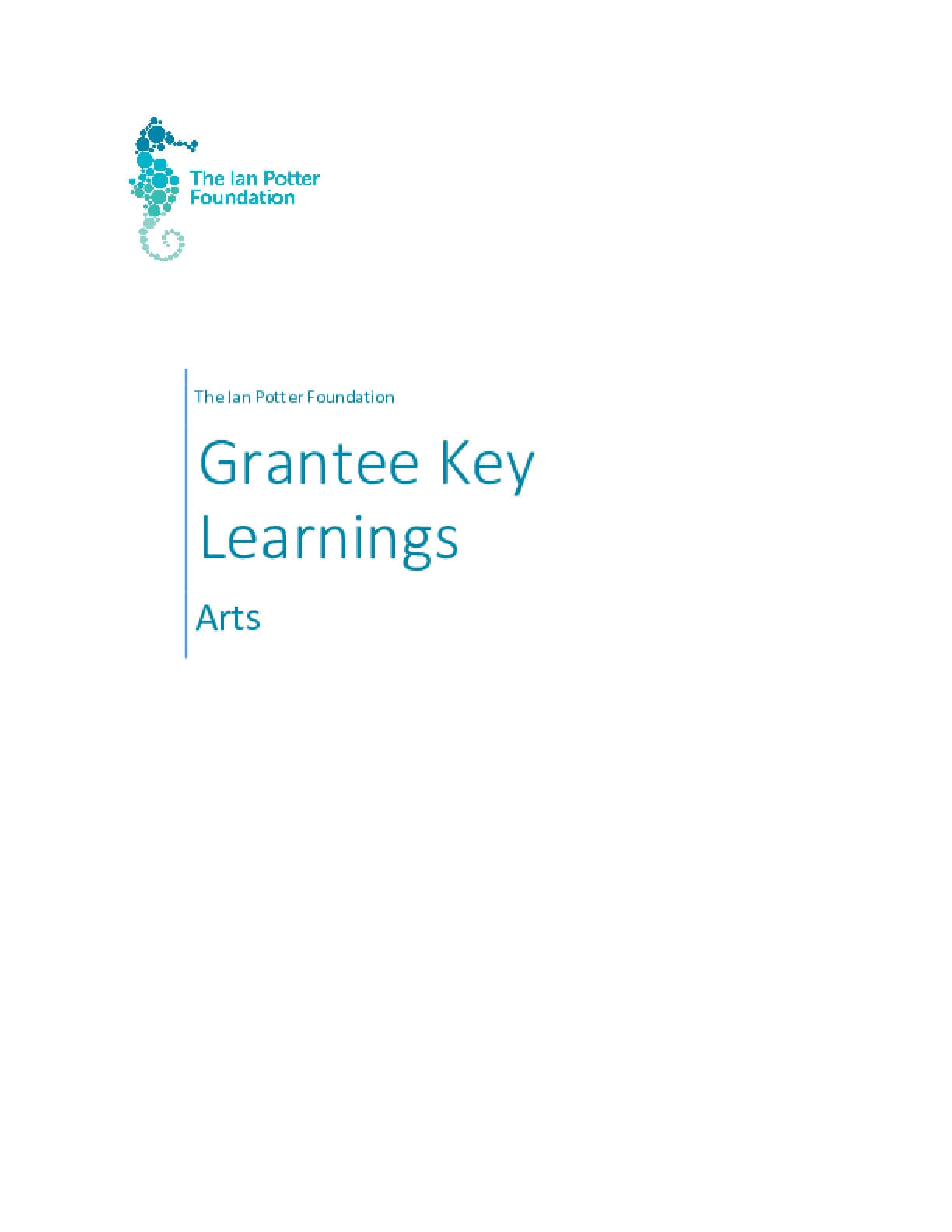 The Ian Potter Foundation Arts Grantee Learnings