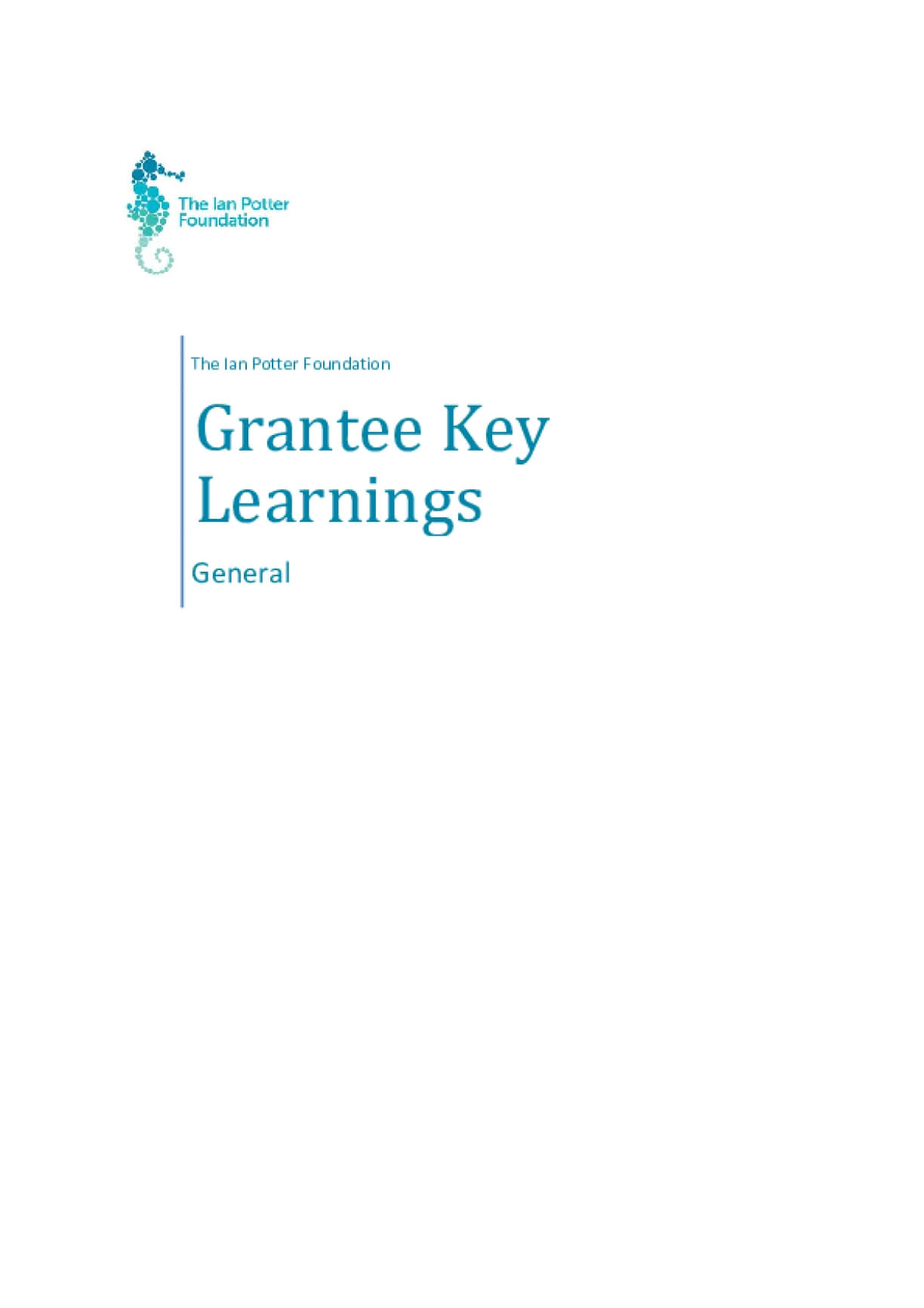 The Ian Potter Foundation Grantee Learnings - General