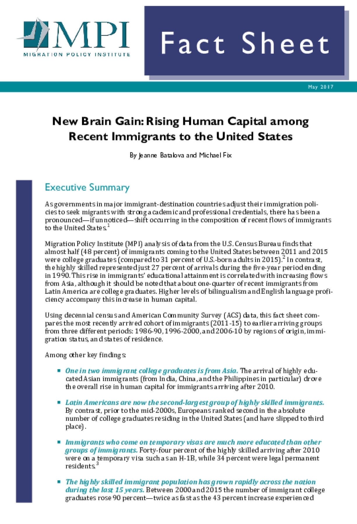 New Brain Gain: Rising Human Capital among Recent Immigrants to the United States