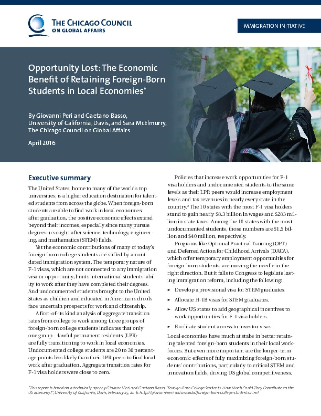 Opportunity Lost: The Economic Benefit of Retaining Foreign-Born Students in Local Economies