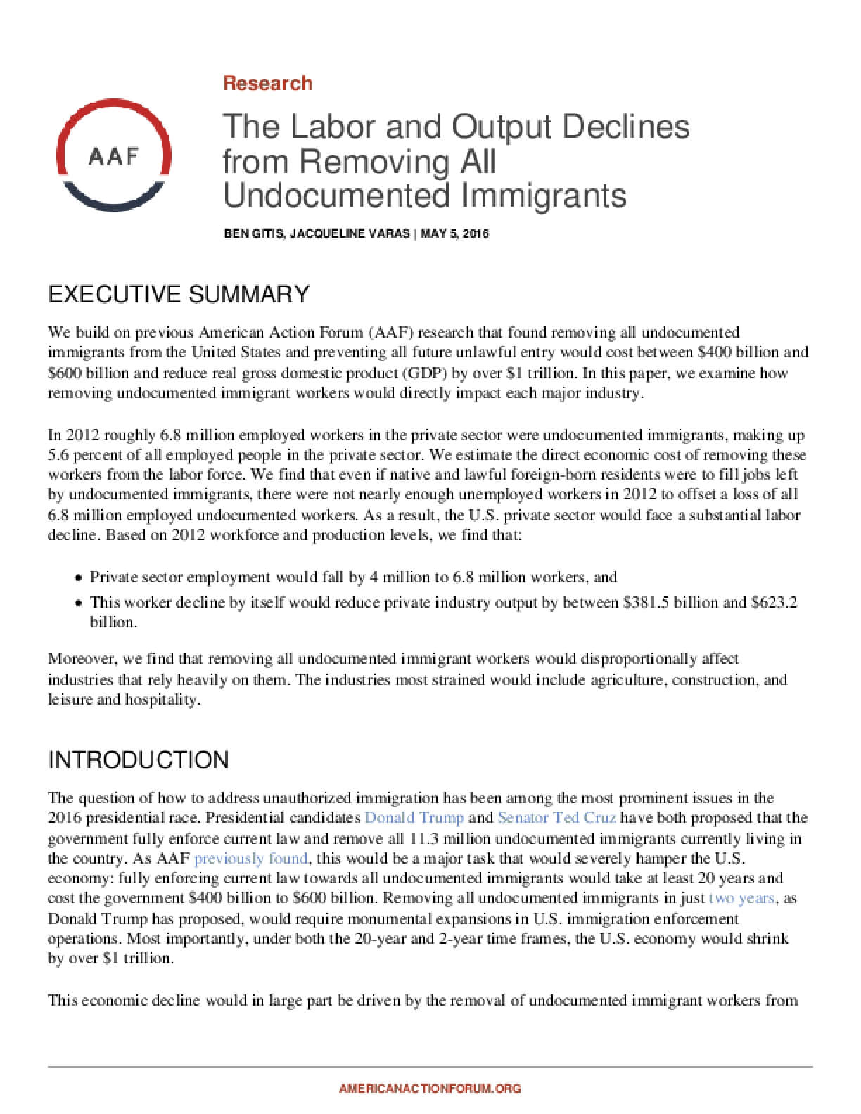 The Labor and Output Declines from Removing All Undocumented Immigrants