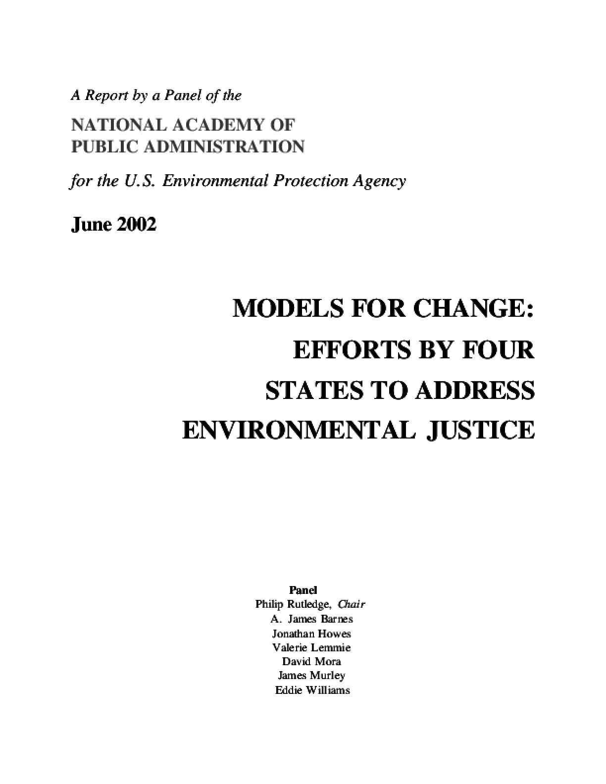 Models For Change: Efforts By Four States To Address Environmental Justice