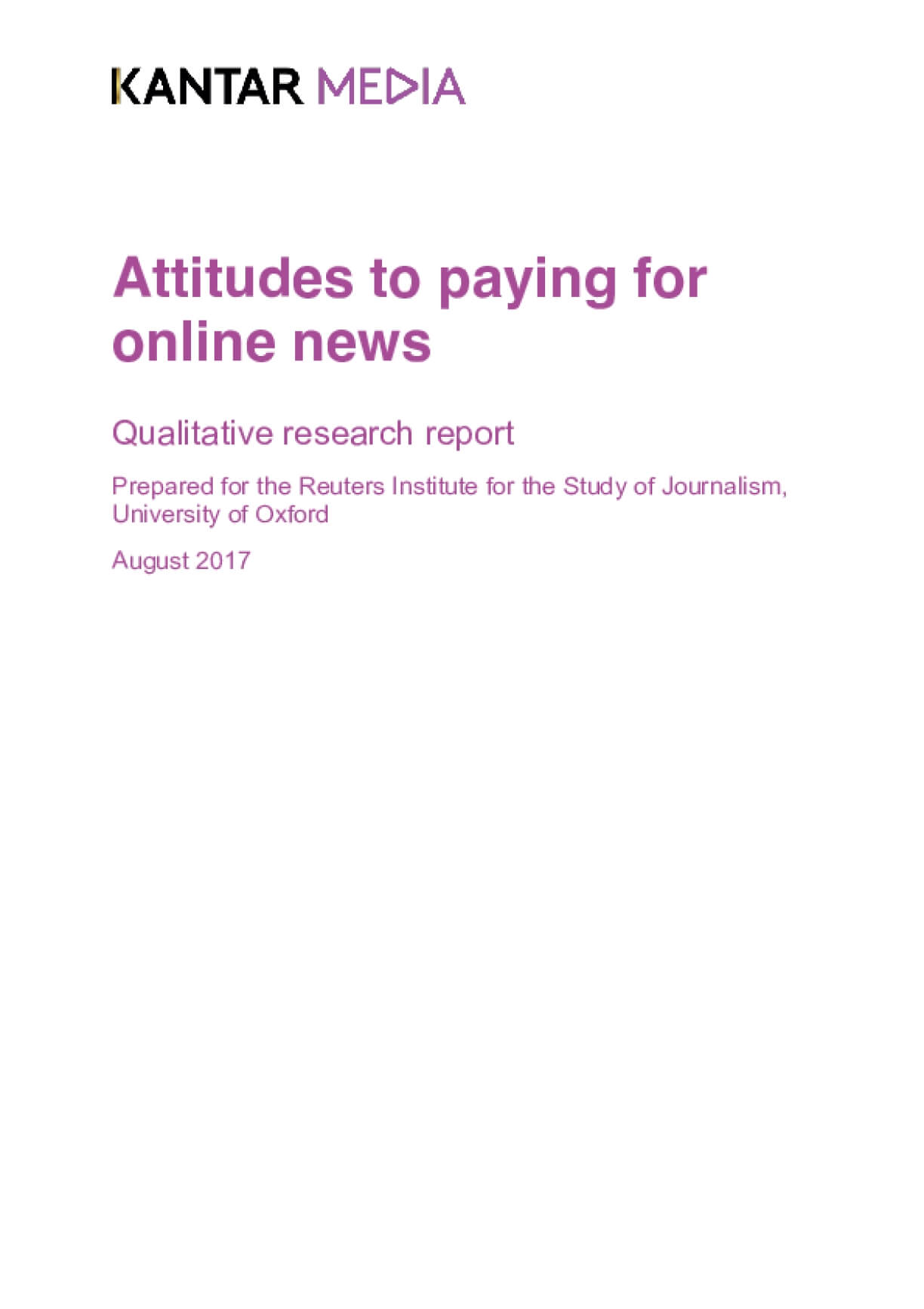 Attitudes to Paying for Online News