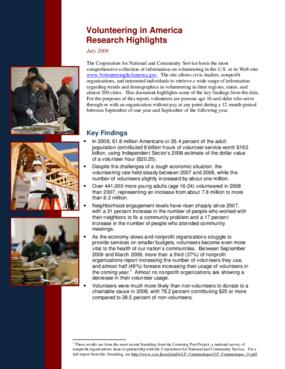 Volunteering in America Research Highlights
