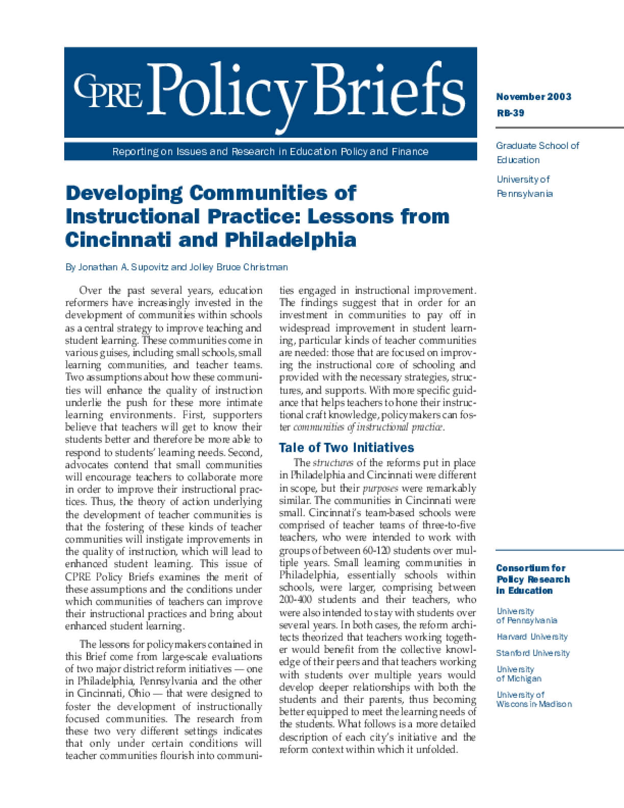 Developing Communities of Instructional Practice: Lessons From Cincinnati and Philadelphia