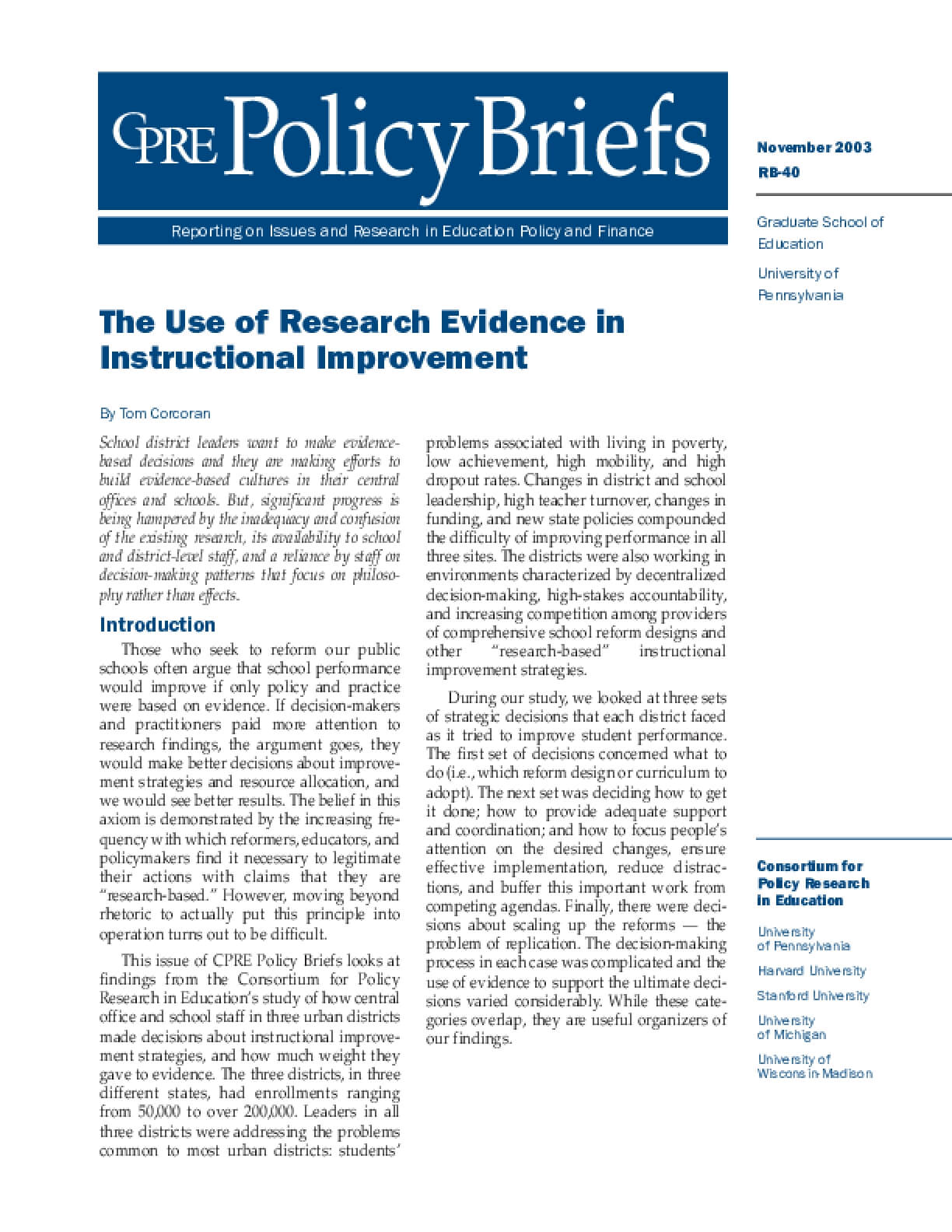 The Use of Research Evidence in Instructional Improvement
