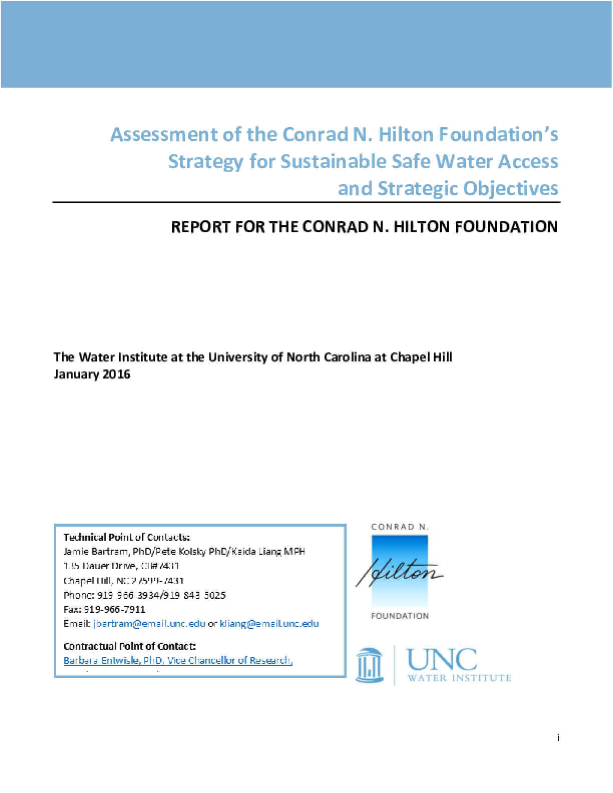 Assessment of the Conrad N. Hilton Foundation's Strategy for Sustainable Safe Water Access and Strategic Objectives