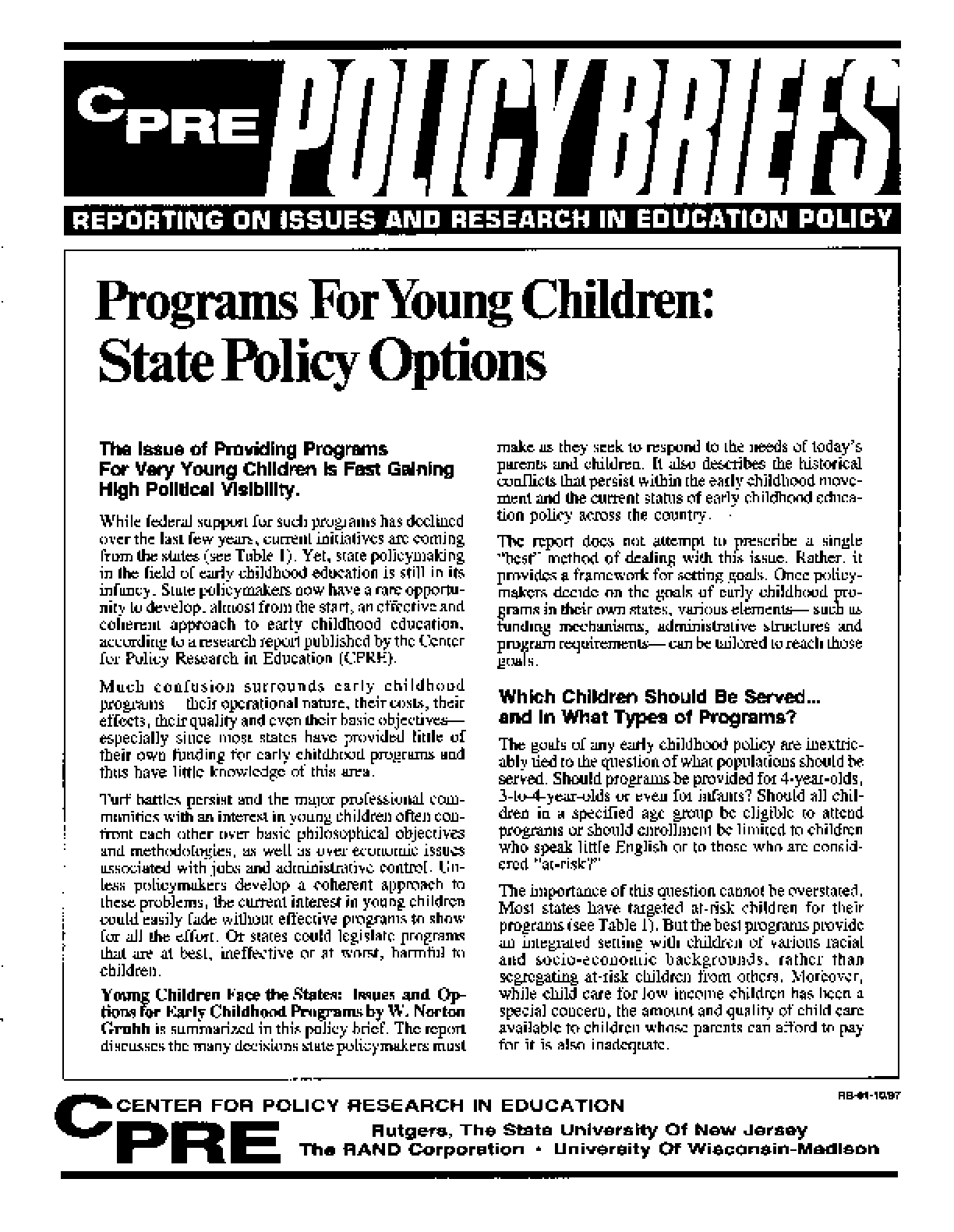 Programs for Young Children: State Policy Options