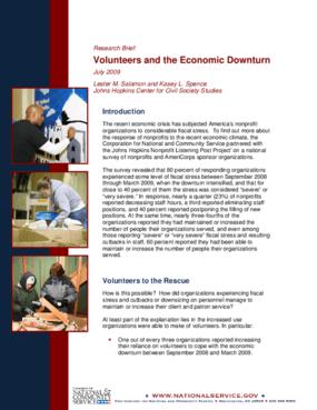 Volunteers and the Economic Downturn