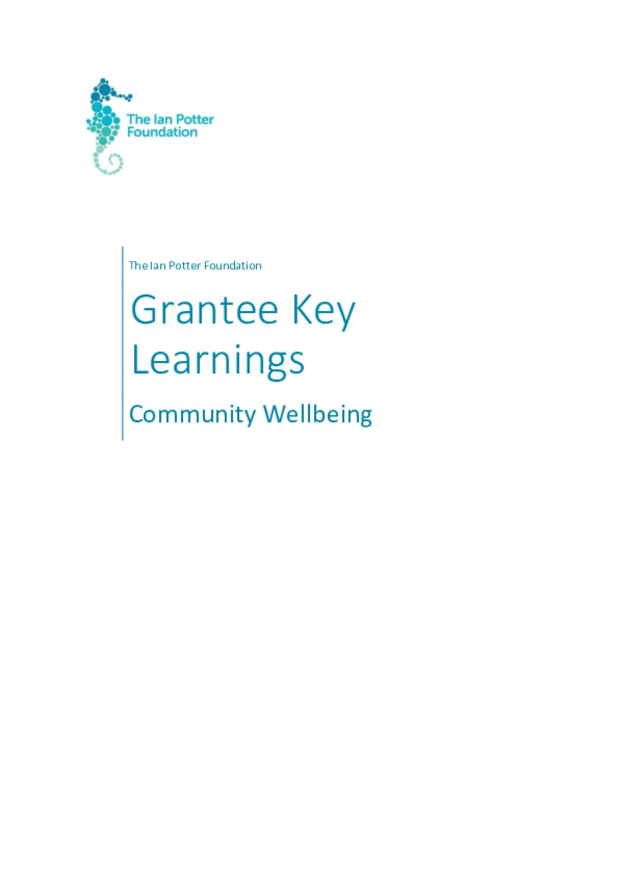 The Ian Potter Foundation Grantee Learnings - Community Wellbeing