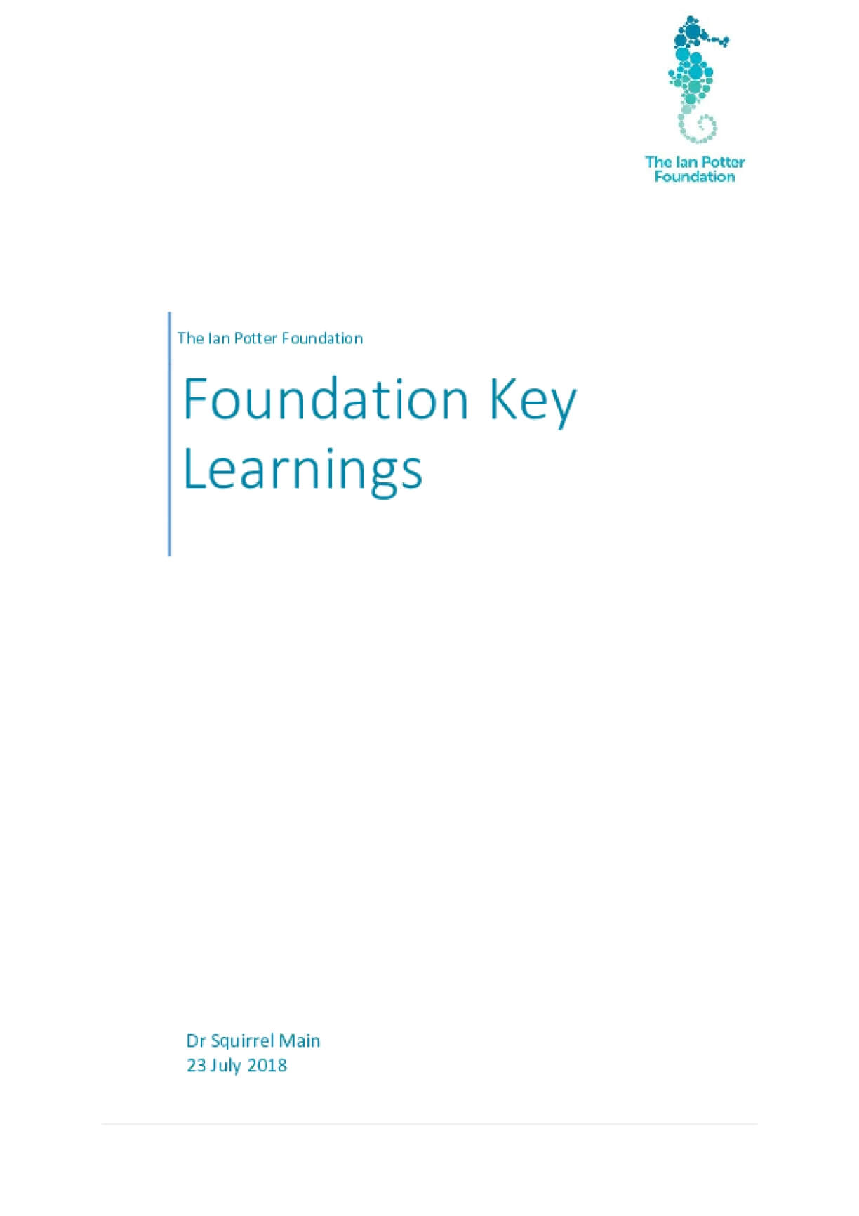 The Ian Potter Foundation - Grantmaker Learnings