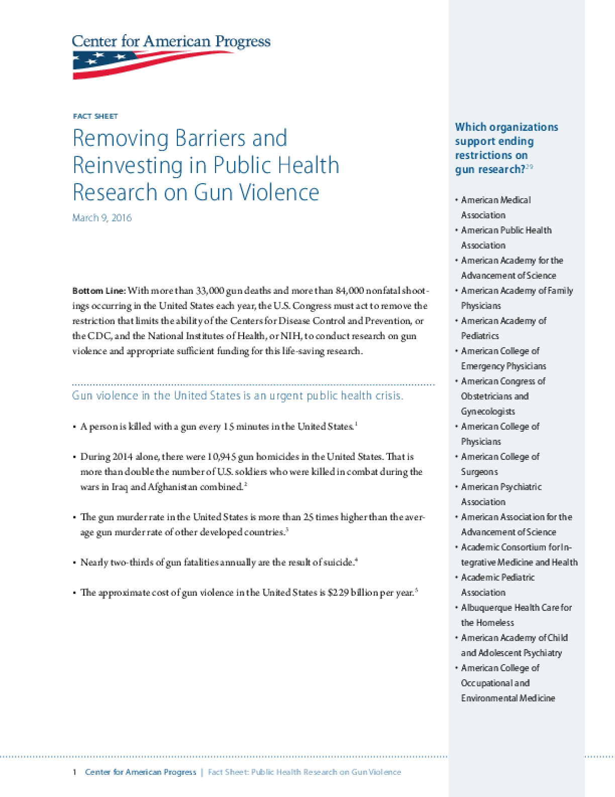 Removing Barriers and Reinvesting in Public Health Research on Gun Violence