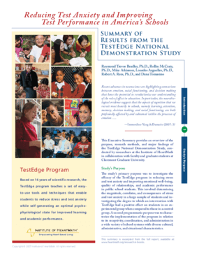 Reducing Test Anxiety and Improving Test Performance in American's Schools: Summary of Results From The TestEdge National Demonstration Study Executive Summary