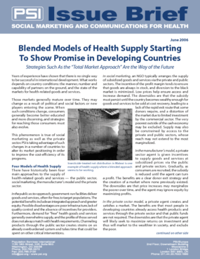 Blended Models of Health Supply Starting To Show Promise in Developing Countries