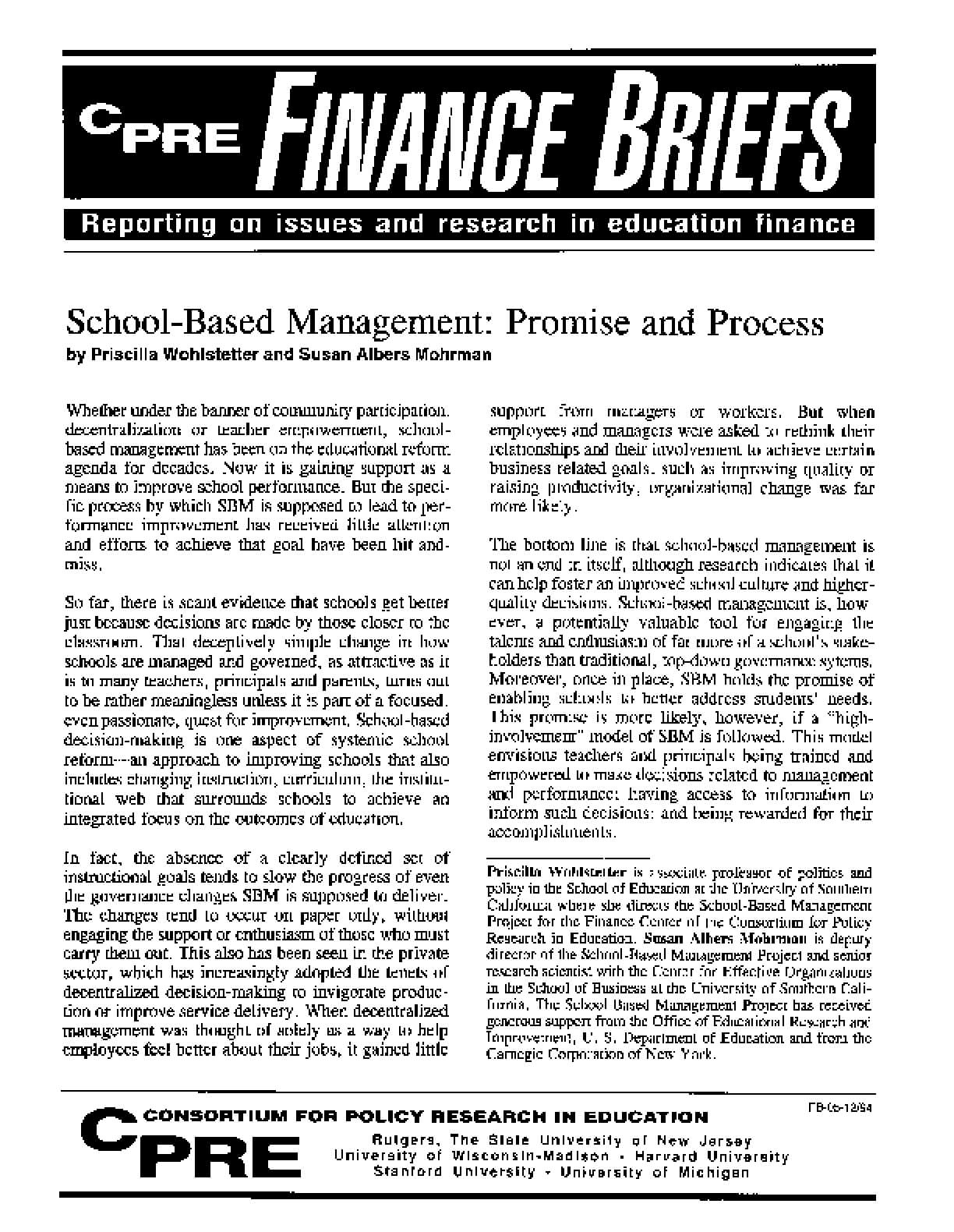 School-Based Management: Promise and Process