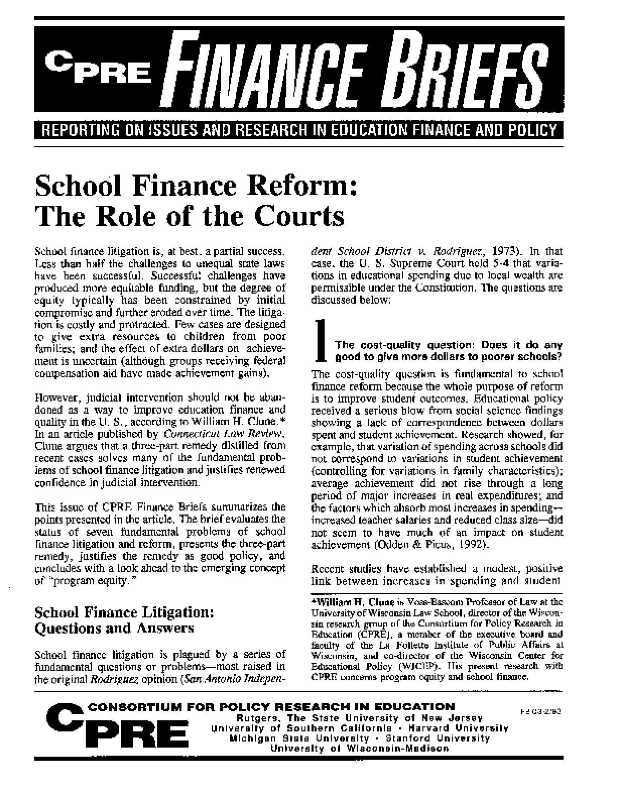 School Finance Reform: The Role of the Courts