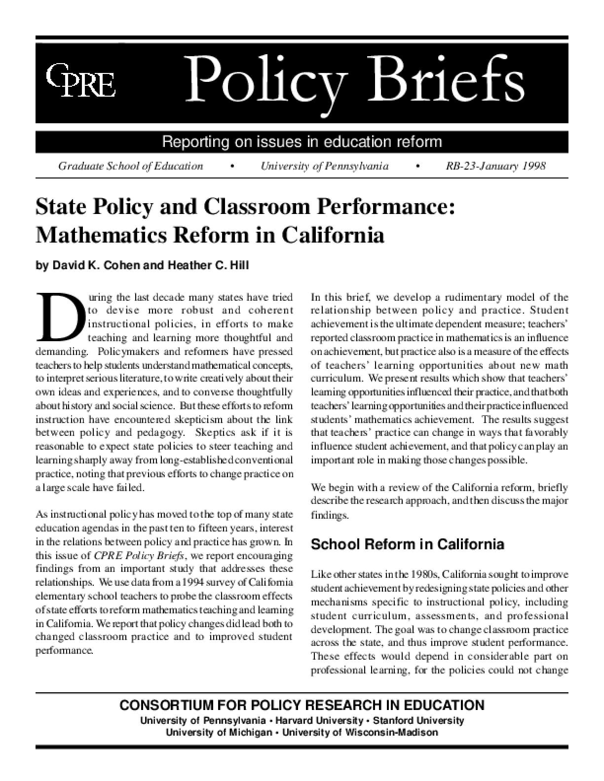 State Policy and Classroom Performance: Mathematics Reform in California