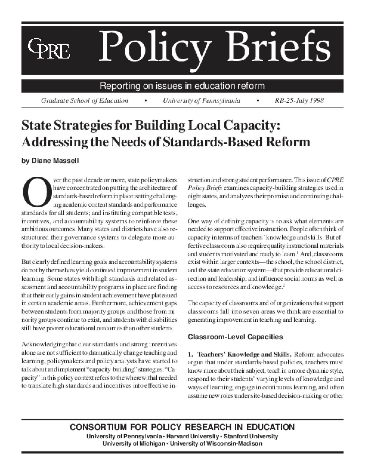 State Strategies for Building Capacity: Addressing the Needs of Standards-Based Reform