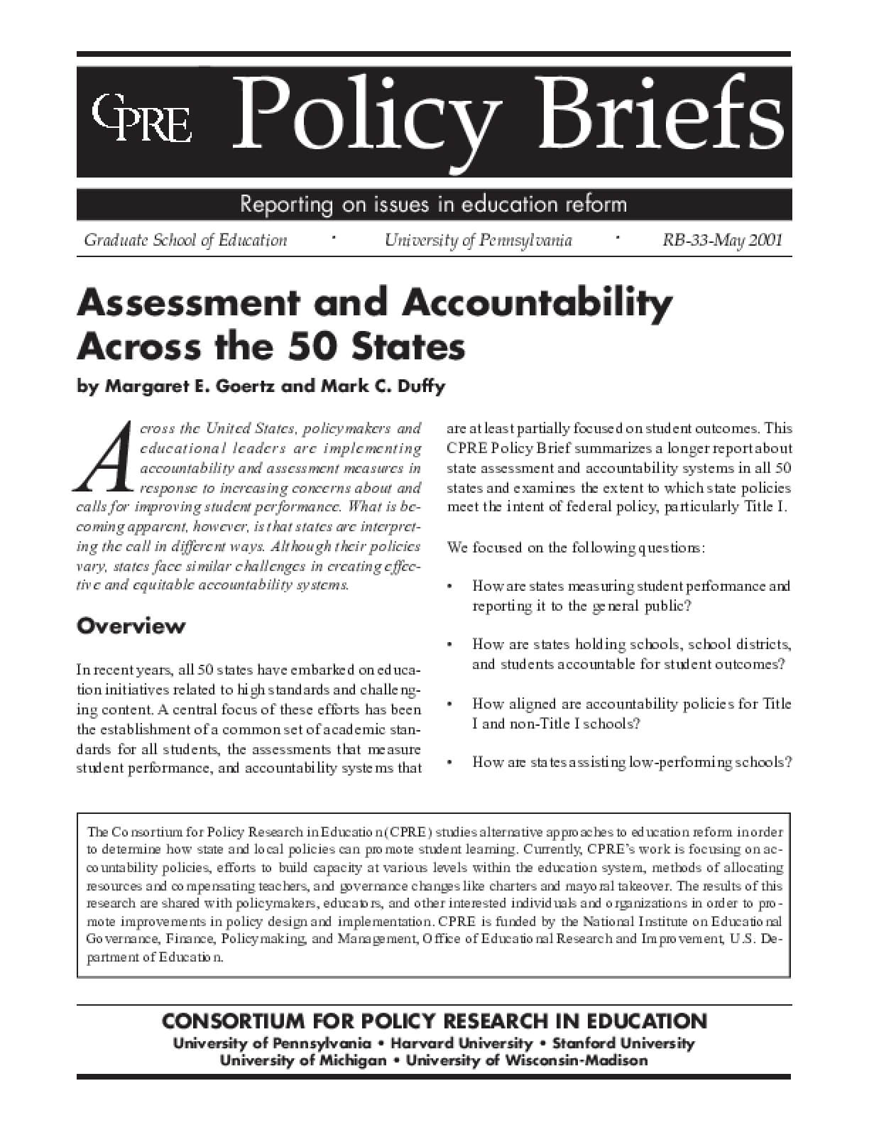 Assessment and AccountabilityAcross the 50 States