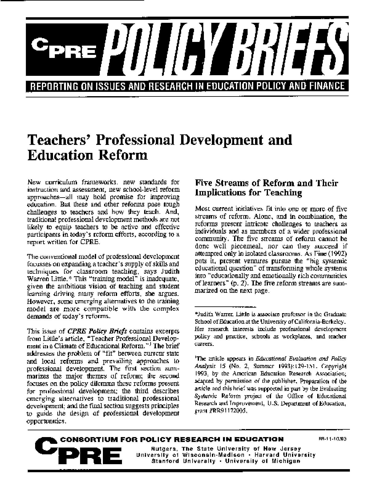 Teachers' Professional Development and Education Reform