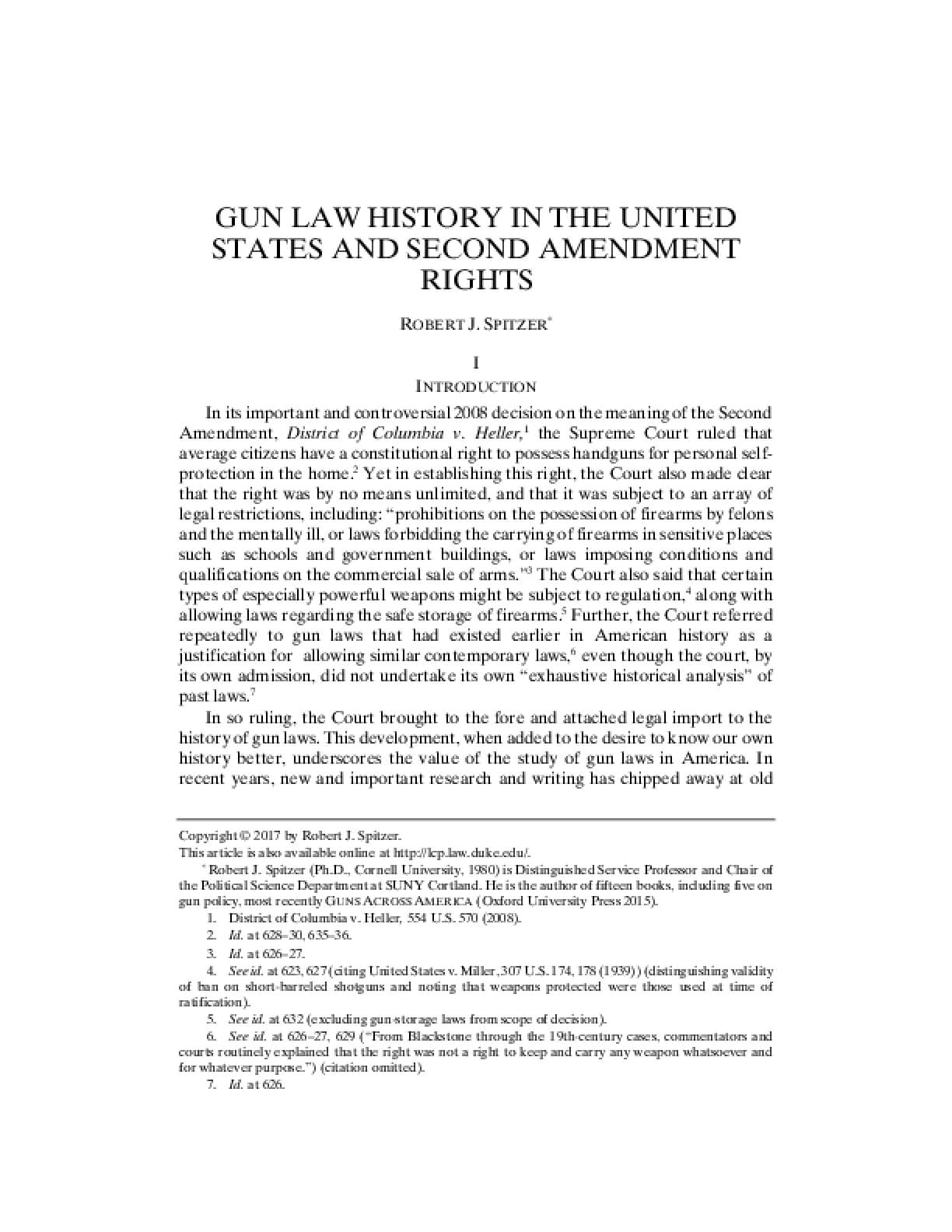 Gun Law History in the United States and Second Amendment Rights