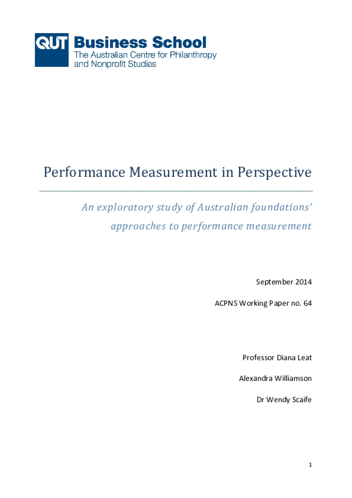 Performance Measurement in Perspective: An exploratory study of Australian foundations' approaches to performance measurement