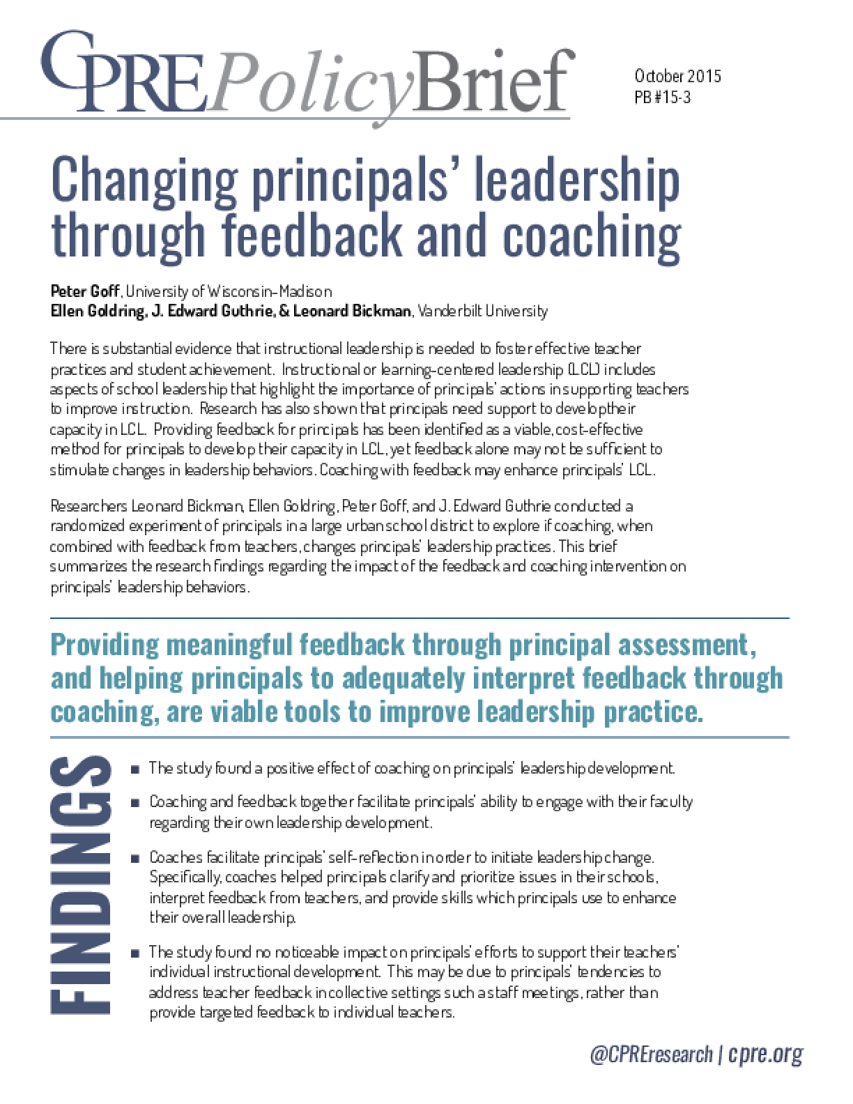 Changing Principals' Leadership through Feedback and Coaching