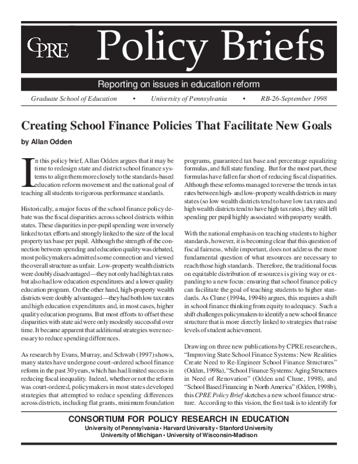 Creating School Finance Policies That Facilitate New Goals