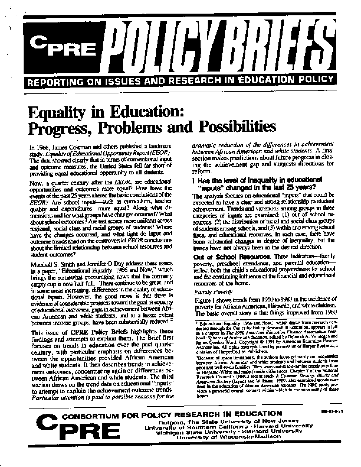 Equality in Education: Progress, Problems and Possibilities
