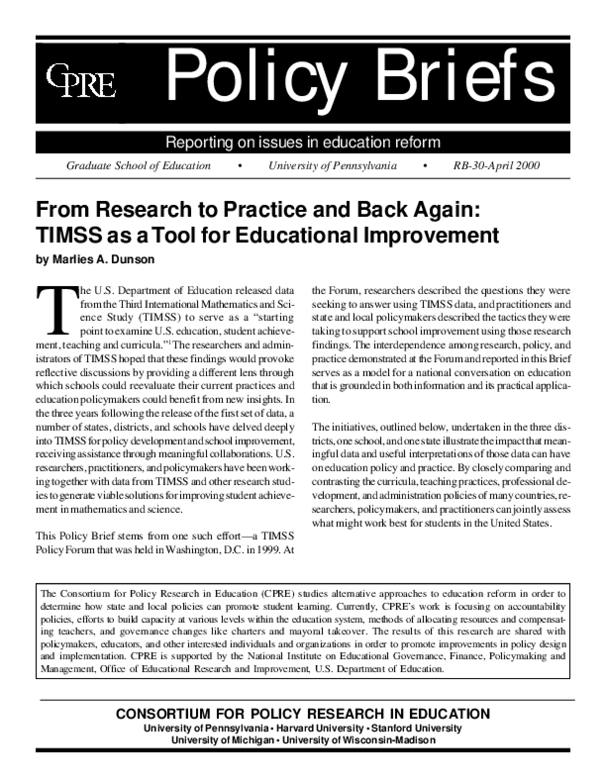 From Research to Practice and Back Again: TIMSS as a Tool for Educational Improvement