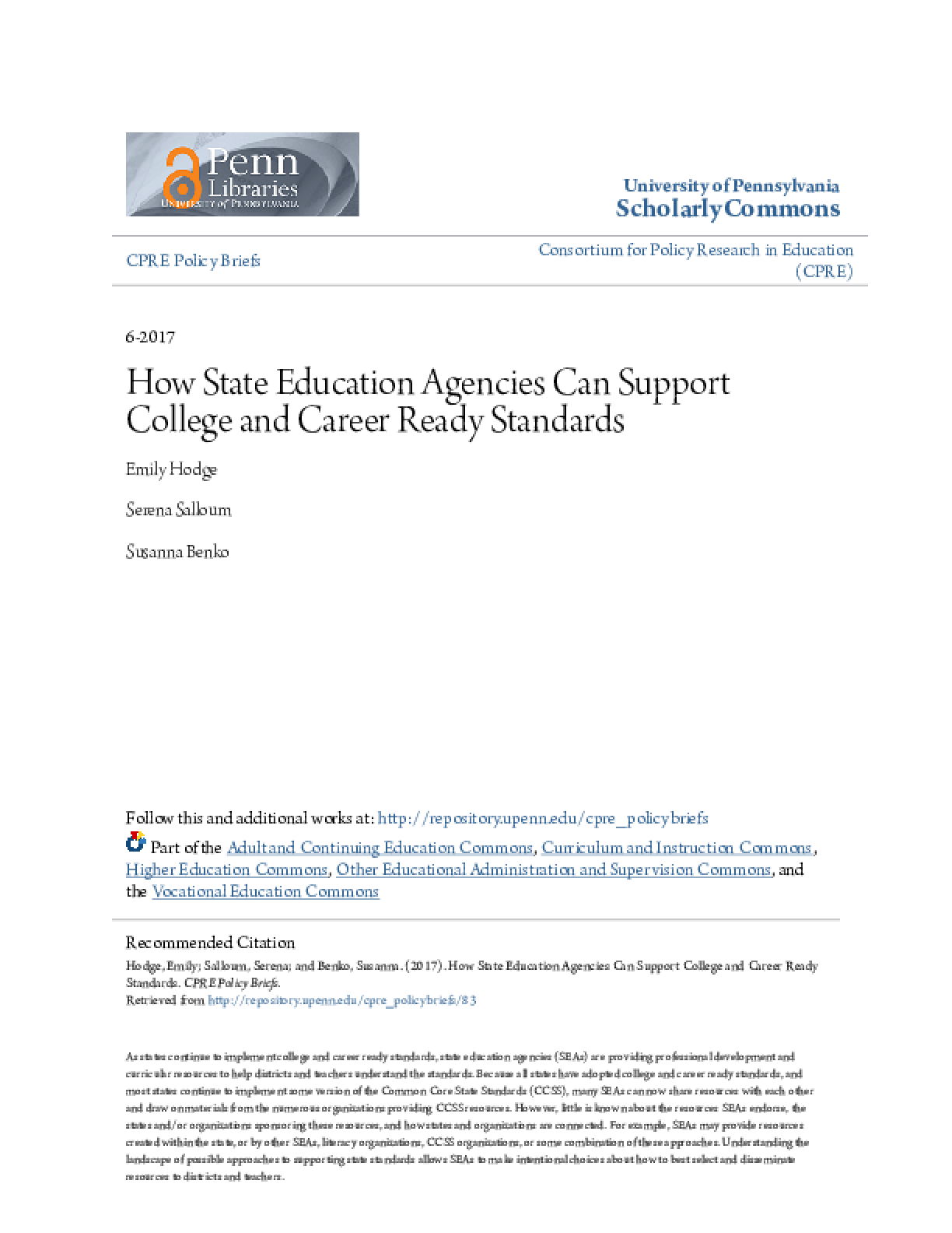 How State Education Agencies Can Support College and Career Ready Standards