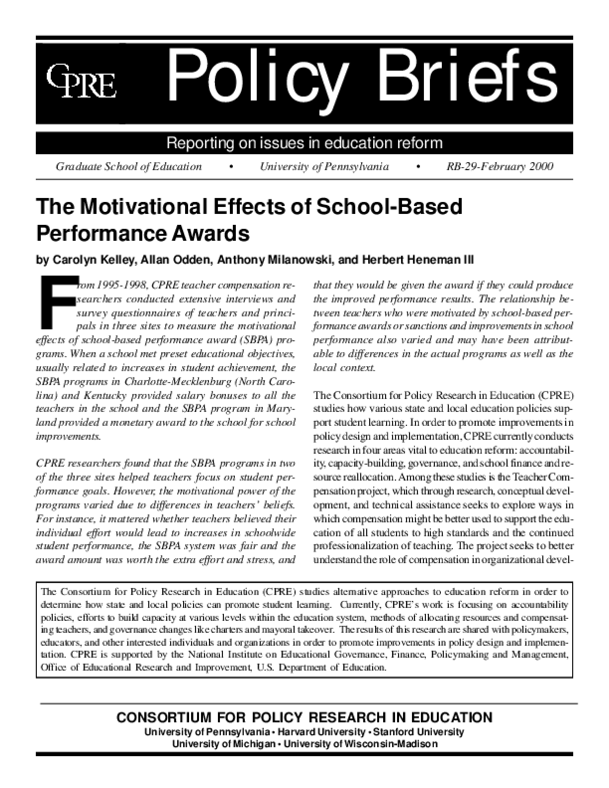 The Motivational Effects of School-Based Performance Awards