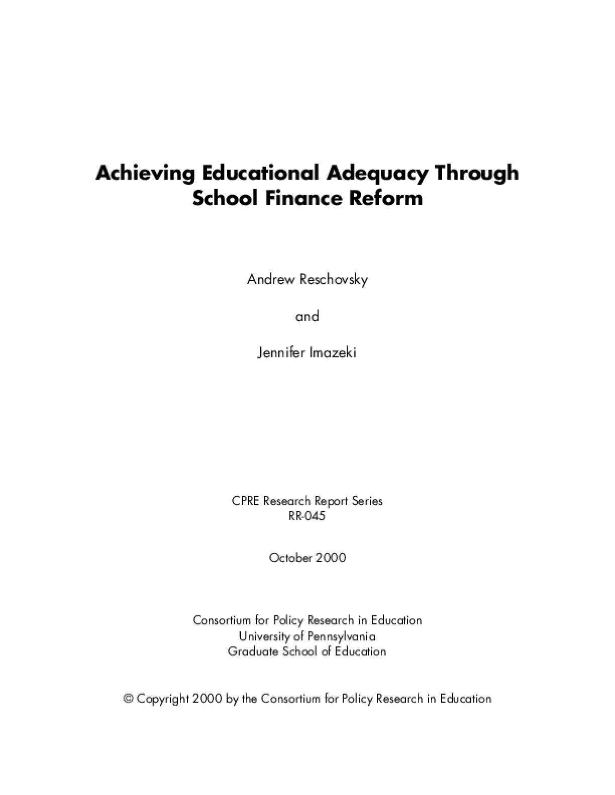Achieving Educational Adequacy Through School Finance Reform