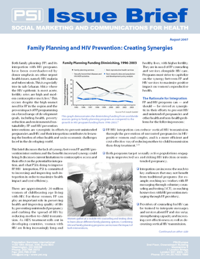 Family Planning and HIV Prevention: Creating Synergies