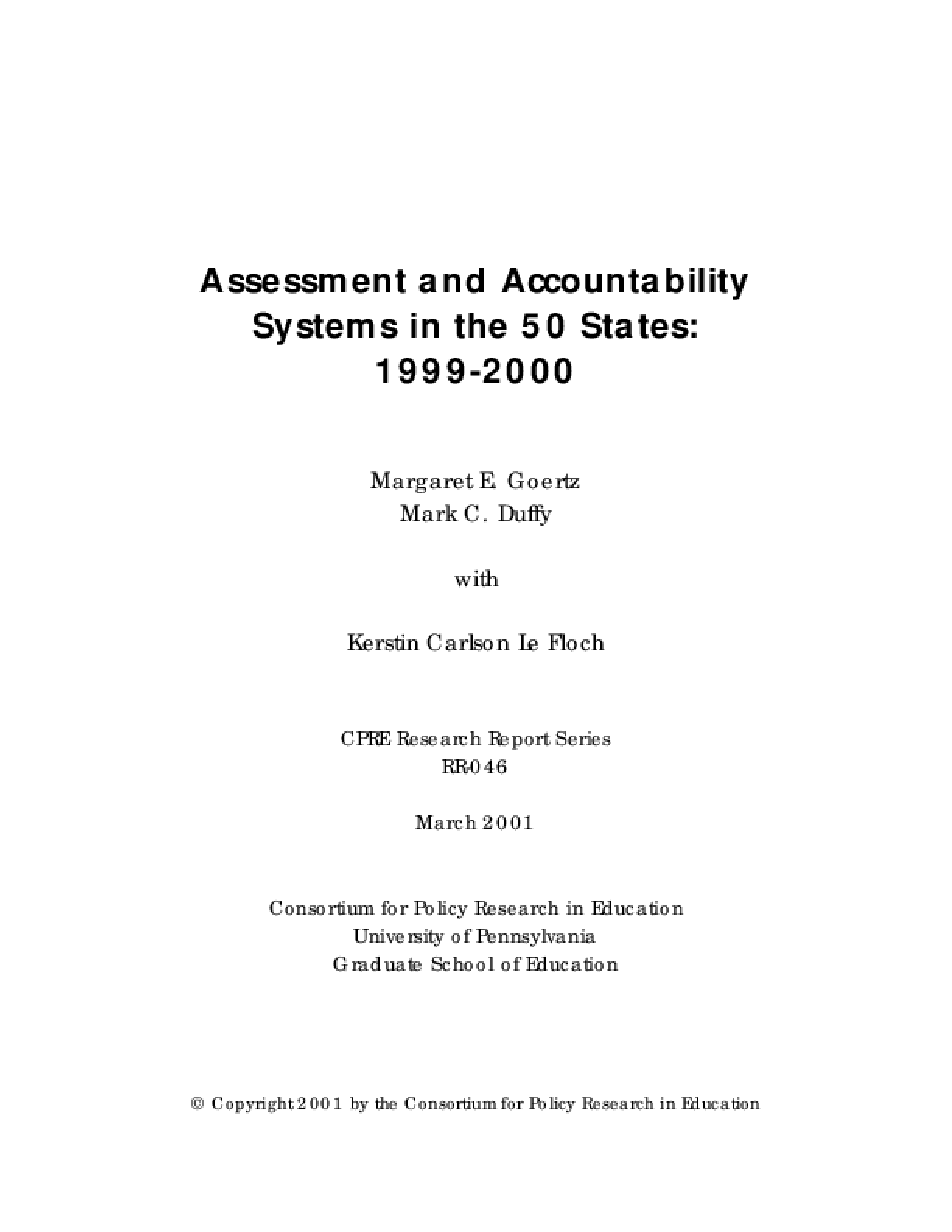 Assessment and Accountability Systems in the 50 States: 1999-2000