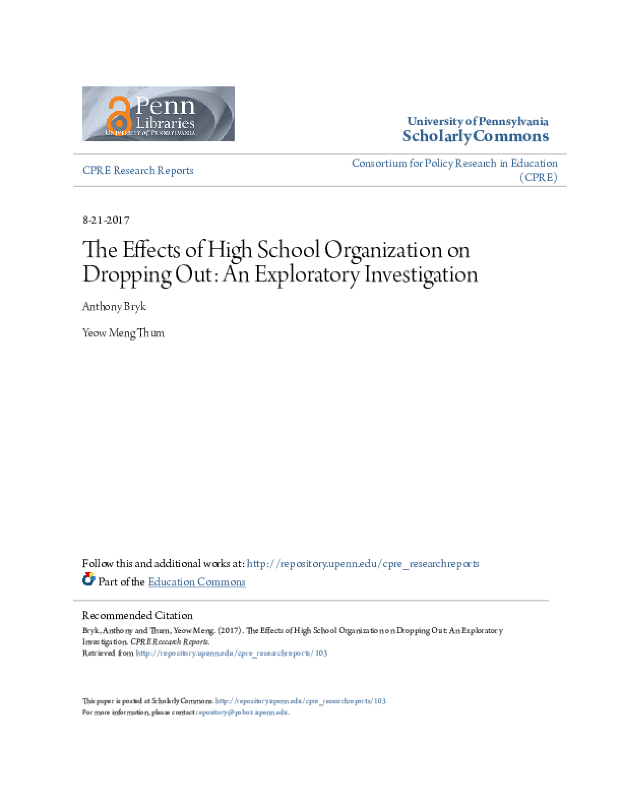 The Effects of High School Organization on Dropping Out: An Exploratory Investigation