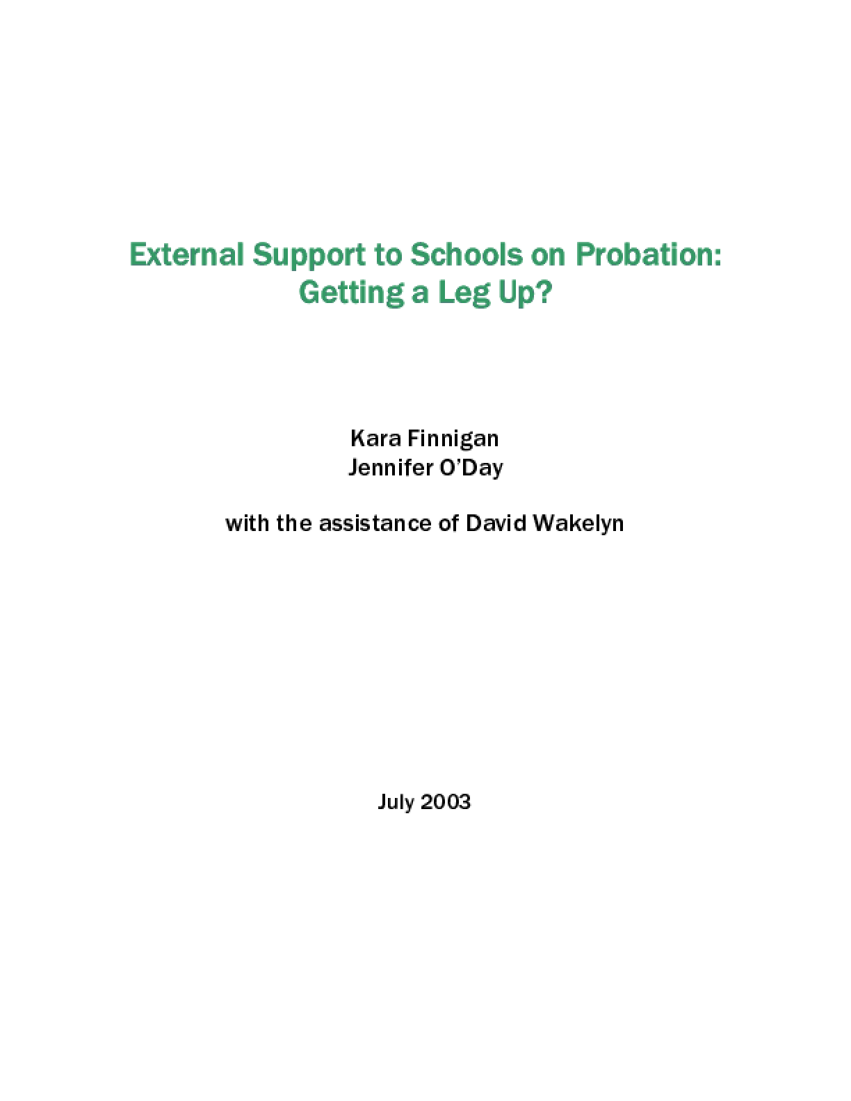 External Support to Schools on Probation: Getting a Leg Up?