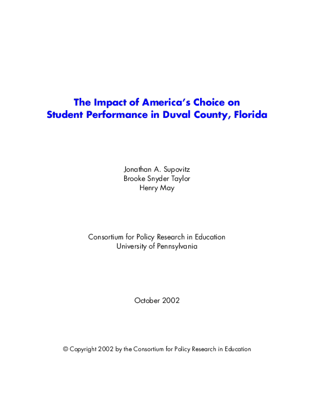 Impact of America's Choice on Student Performance in Duval County, Florida