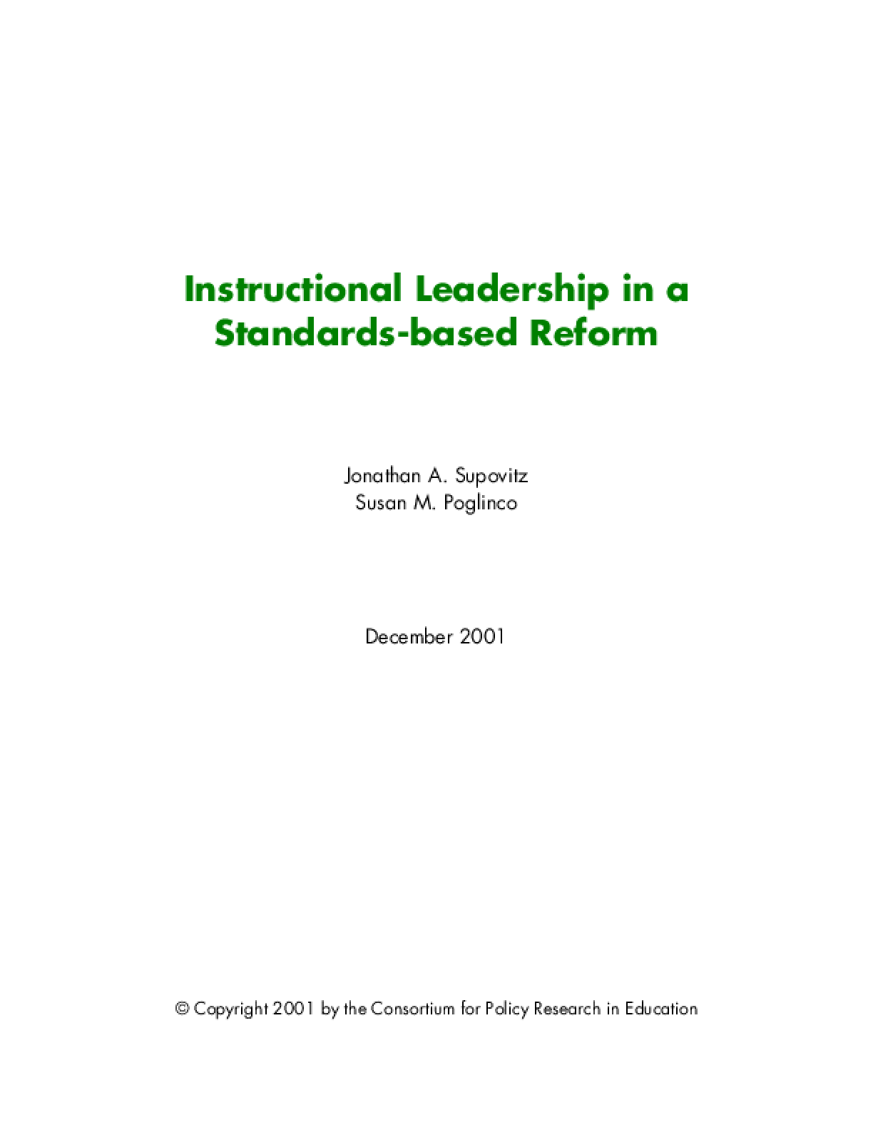 Instructional Leadership in a Standards-Based Reform