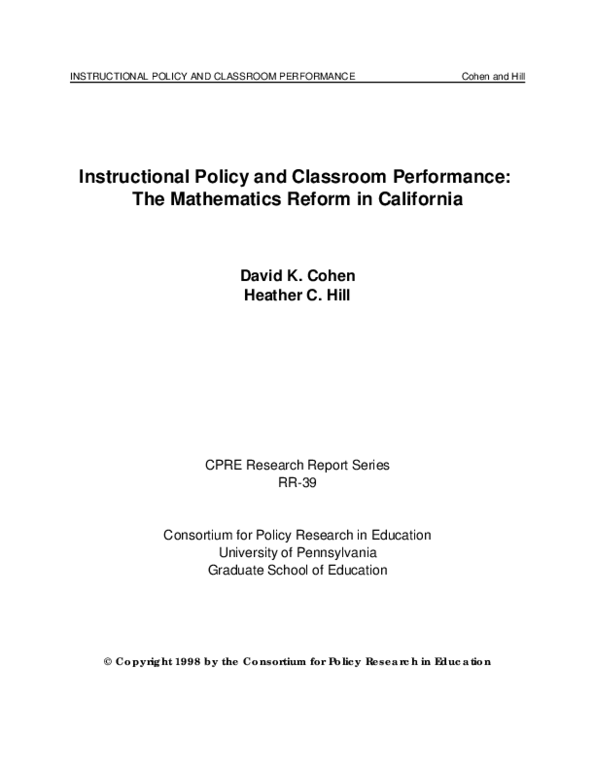 Instructional Policy and Classroom Performance: The Mathematics Reform in California