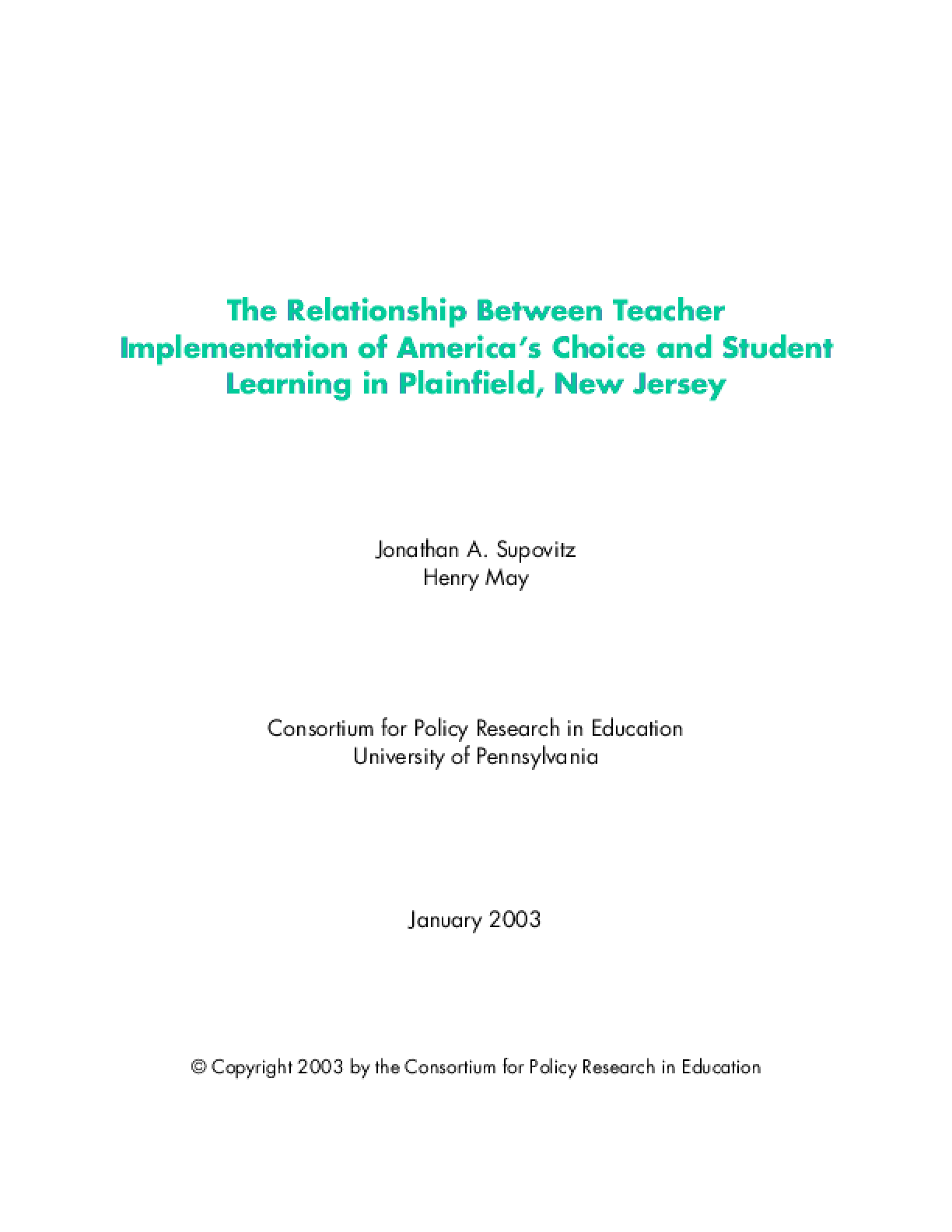 The Relationship Between Teacher Implementation of America's Choice and Student Learning in Plainfield, New Jersey