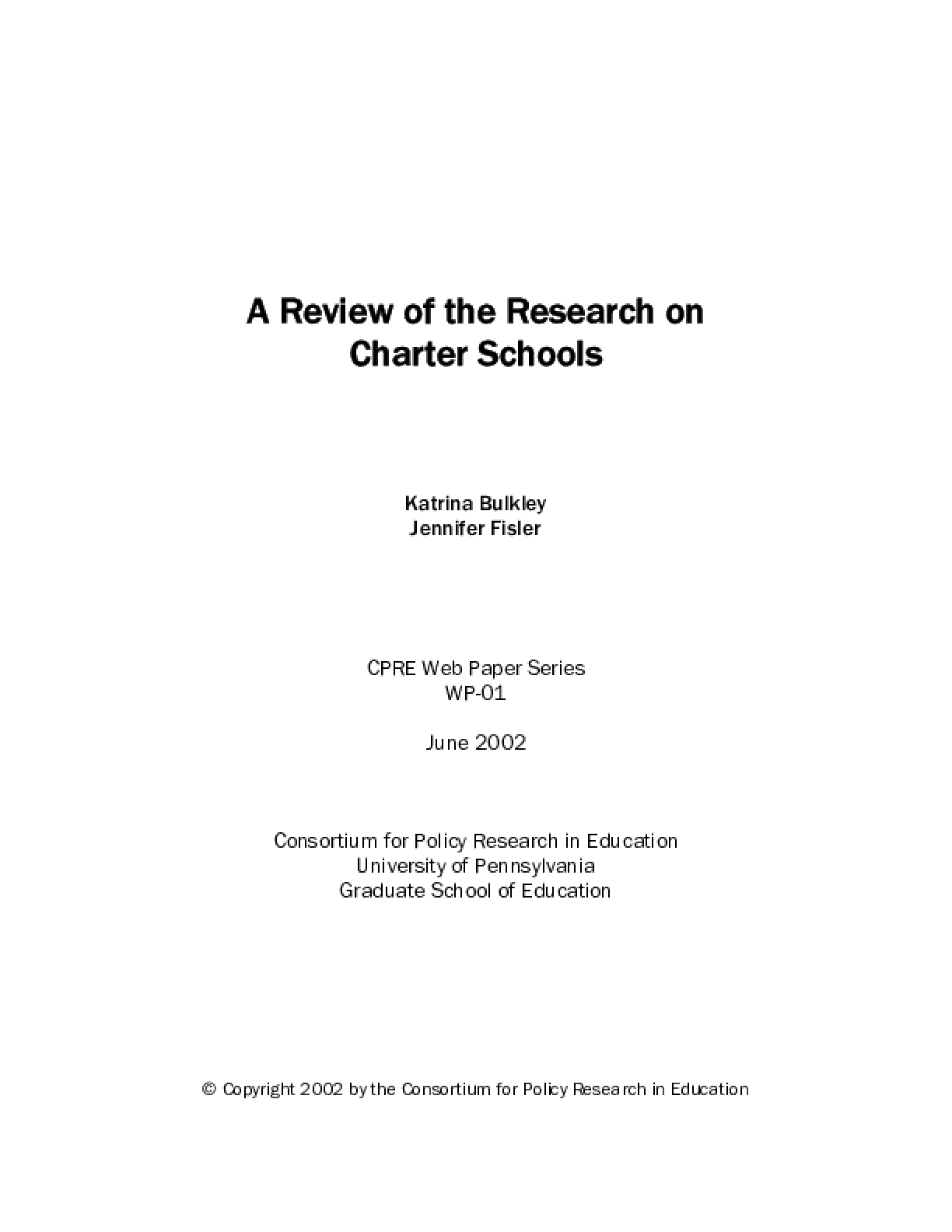 A Review of the Research on Charter Schools