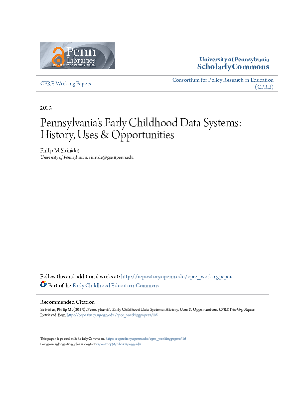 Pennsylvania's Early Childhood Data Systems: History, Uses & Opportunities