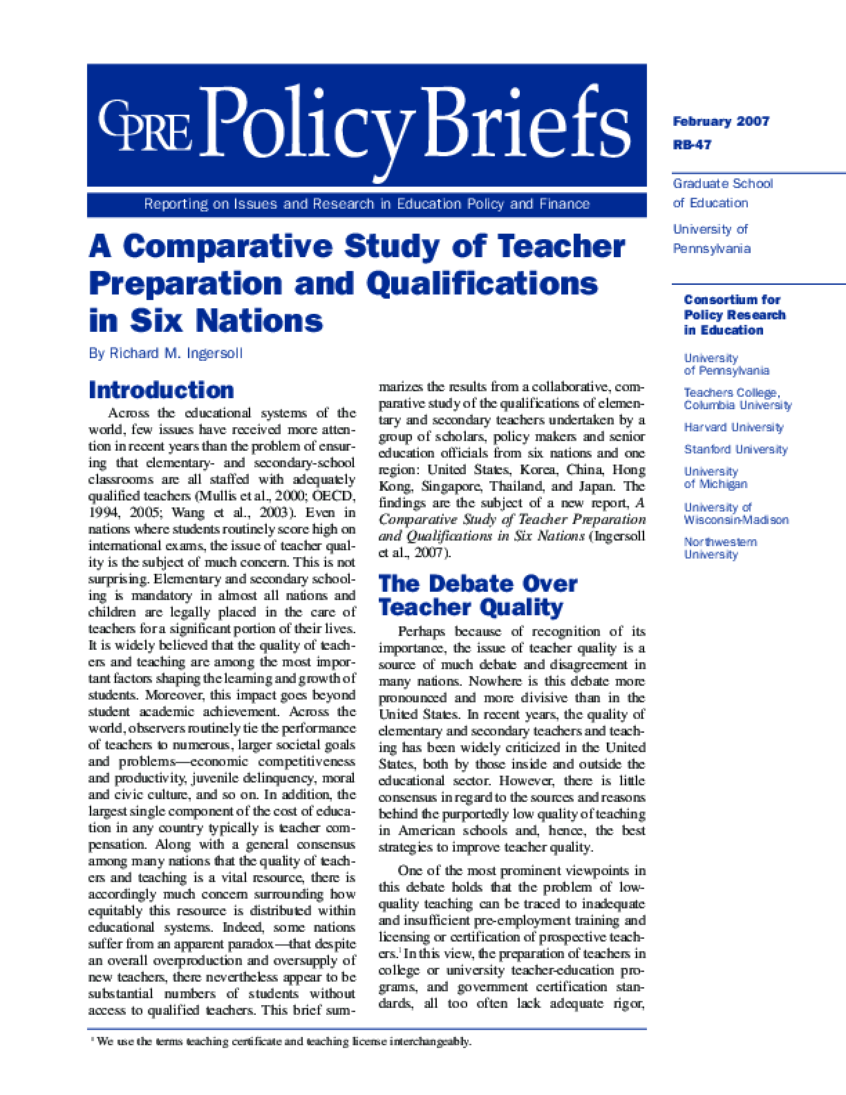 A Comparative Study of Teacher Preparation and Qualifications in Six Nations (Policy Brief)