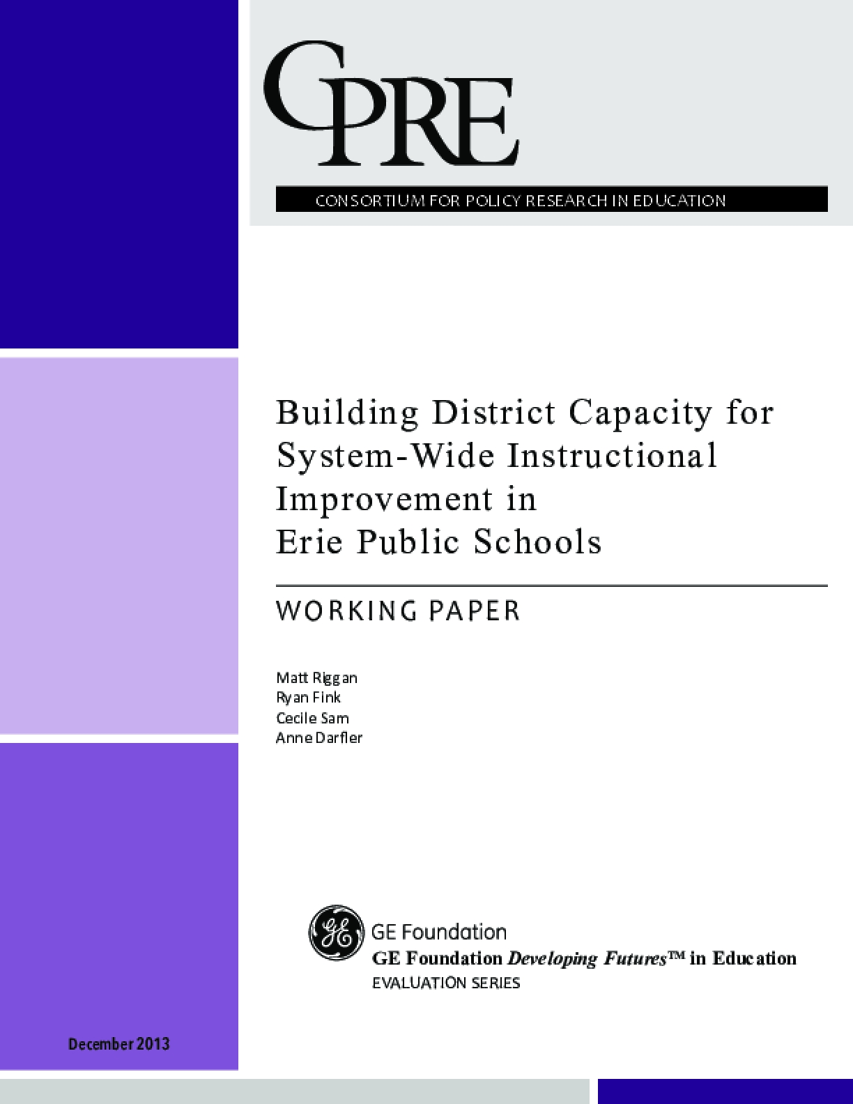 Building District Capacity for System-Wide Instructional Improvement in Erie Public Schools