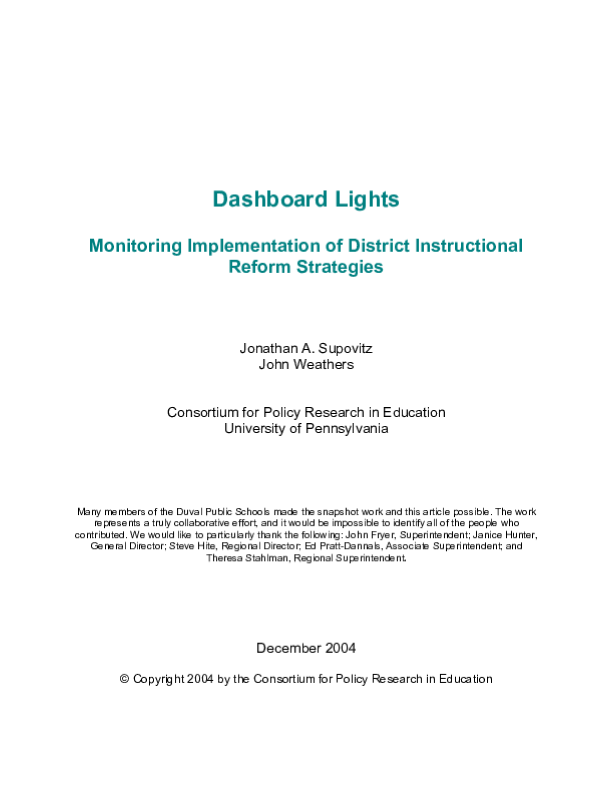 Dashboard Lights: Monitoring Implementation of District Instructional Reform Strategies