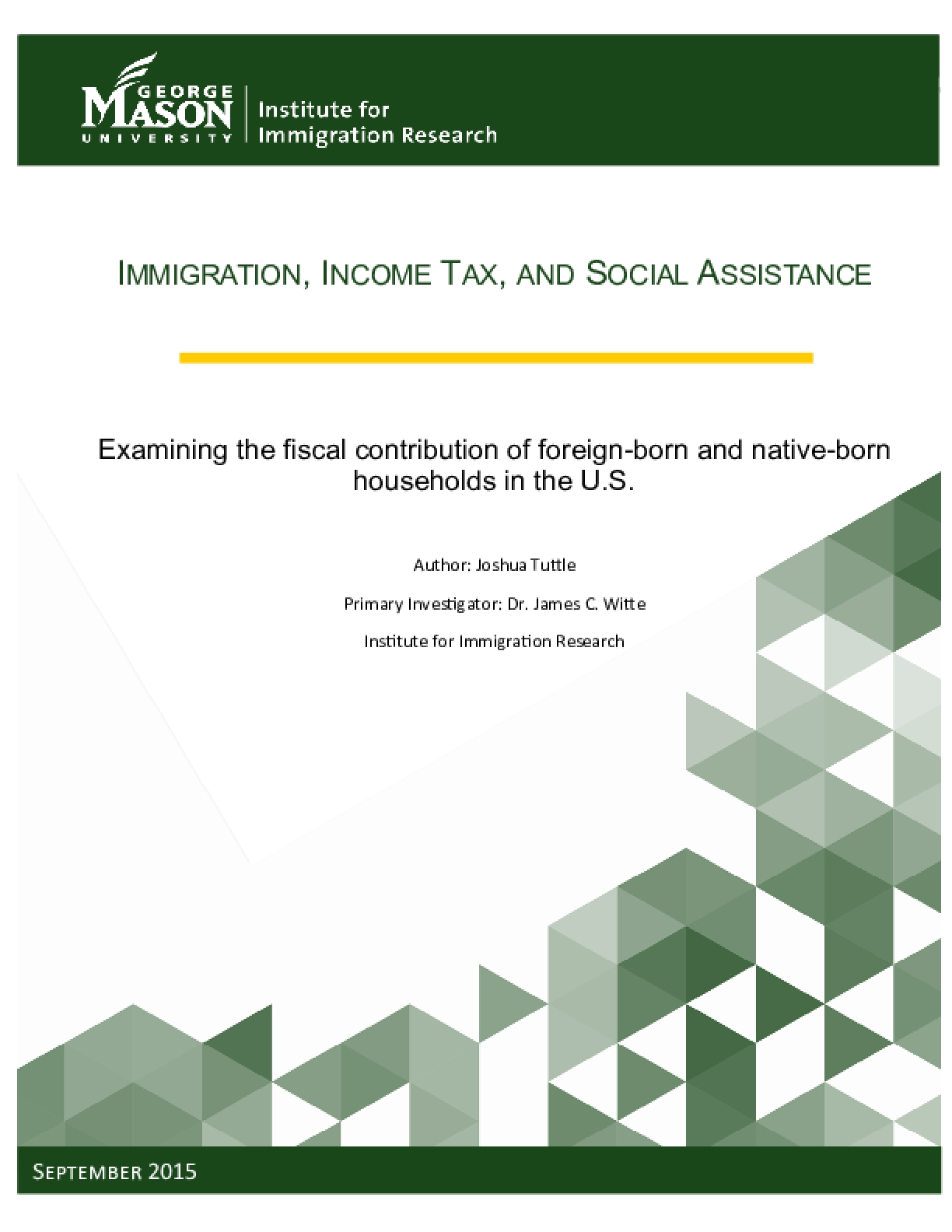 Examining the fiscal contribution of foreign-born and native-born households in the U.S.
