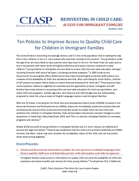 Ten Policies to Improve Access to Quality Child Care for Children in Immigrant Families